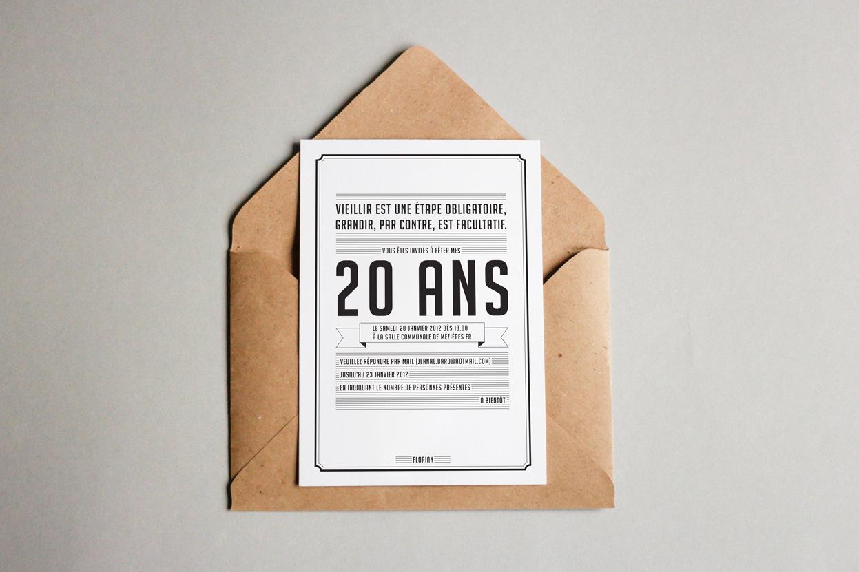 Invitation 20 ans